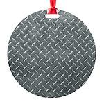 Gray Diamond Plate Pattern Round Ornament