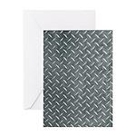 Gray Diamond Plate Pattern Greeting Card