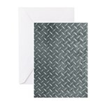 Gray Diamond Plate Pattern Greeting Cards (Pk of 2