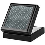 Gray Diamond Plate Pattern Keepsake Box