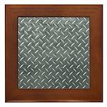 Gray Diamond Plate Pattern Framed Tile