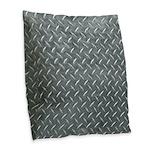 Gray Diamond Plate Pattern Burlap Throw Pillow