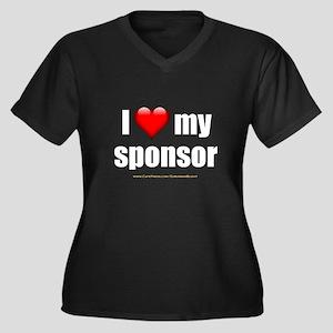 """Love My Sponsor"" Women's Plus Size V-Neck Dark T-"