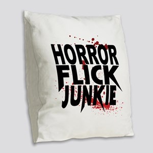 Horror Flick Junkie Burlap Throw Pillow