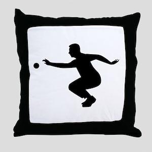 Petanque player Throw Pillow