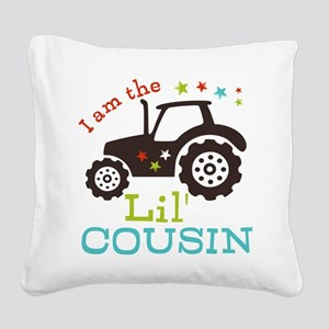 Little Cousin Tractor Square Canvas Pillow