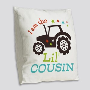 Little Cousin Tractor Burlap Throw Pillow