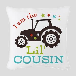 Little Cousin Tractor Woven Throw Pillow