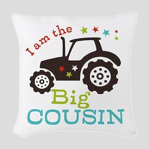Big Cousin Tractor Woven Throw Pillow