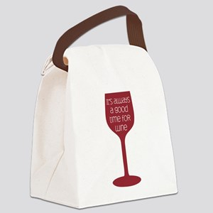 Good Time For Wine Canvas Lunch Bag