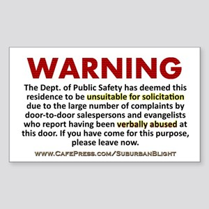 """No Soliciting Public Safety"" Sticker (Rectangle)"