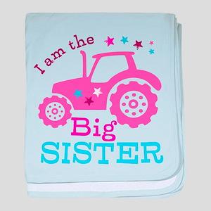 Pink Tractor Big Sister baby blanket