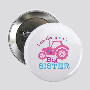 "Pink Tractor Big Sister 2.25"" Button (10 pack)"