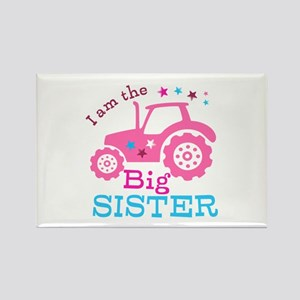 Pink Tractor Big Sister Rectangle Magnet (10 pack)
