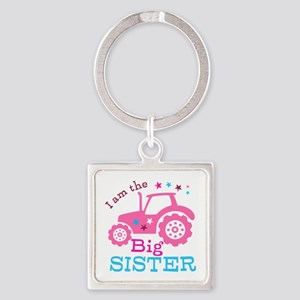 Pink Tractor Big Sister Keychains
