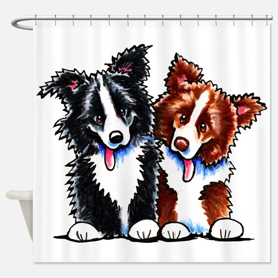 Little League Border Collies Shower Curtain