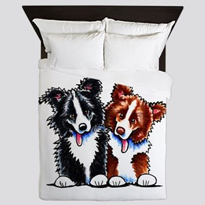 Little League Border Collies Queen Duvet