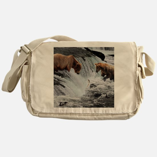 Bears catching fish  Messenger Bag
