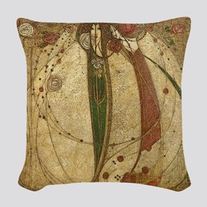 Art Nouveau Ladies And Roses - Woven Throw Pillow