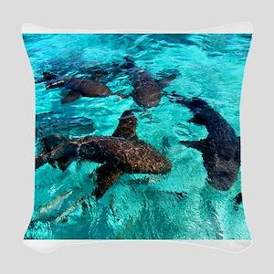 Cool Sharks Woven Throw Pillow