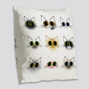 Cat Breeds Burlap Throw Pillow