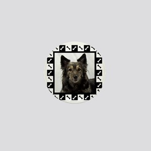 Maia--Dog Portrait with Black and Whit Mini Button