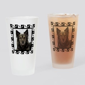 Maia--Dog Portrait with Black and W Drinking Glass