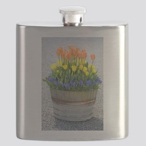 Spring tulips barrel planter Flask