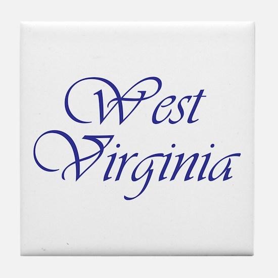 West Virginia Blue Tile Coaster