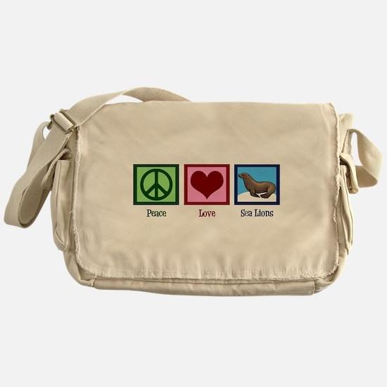 Peace Love Sea Lions Messenger Bag
