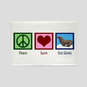 Peace Love Sea Lions Rectangle Magnet