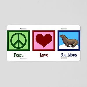 Peace Love Sea Lions Aluminum License Plate