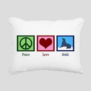 Peace Love Seals Rectangular Canvas Pillow