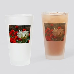 Single white tulip Drinking Glass