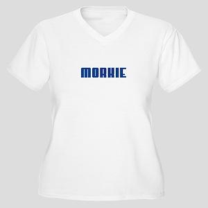 Groovy Blue Morkie Women's Plus Size V-Neck T-Shir