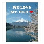 "We Love Mt. Fuji Square Car Magnet 3"" x 3"""
