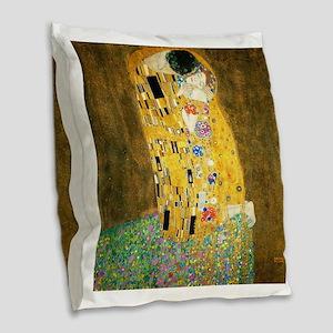 Gustav Klimt Kiss Burlap Throw Pillow