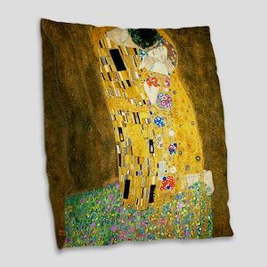 Gustav Klimt The Kiss Burlap Throw Pillow