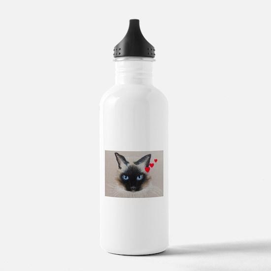 Siamese Happy Valentines Day Water Bottle