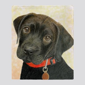 Black Labrador Puppy Portrait with P Throw Blanket