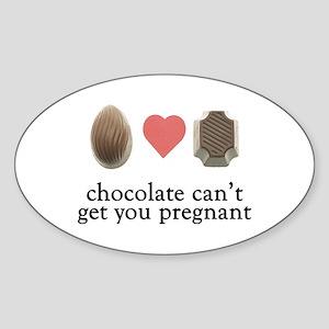 Pregnant Chocolate Oval Sticker
