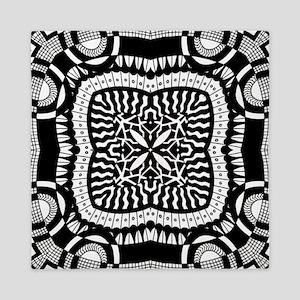 Retro Black and White Pattern  Queen Duvet