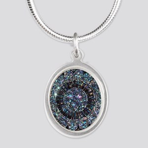 Beaded Sequin Flowers Photo Silver Oval Necklace