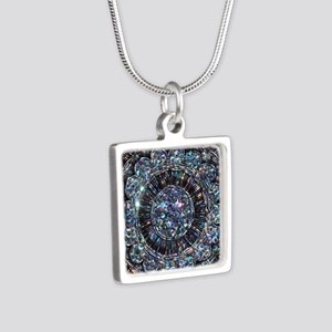 Beaded Sequin Flowers Photo Silver Square Necklace