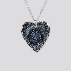 Beaded Sequin Flowers Photo Necklace Heart Charm