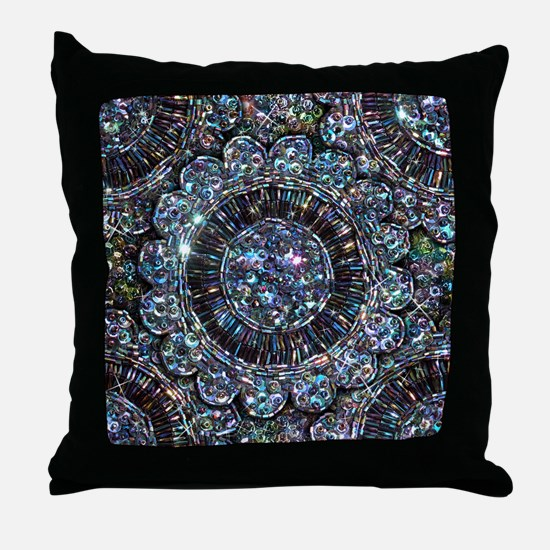 Beaded Sequin Flowers Photo Throw Pillow