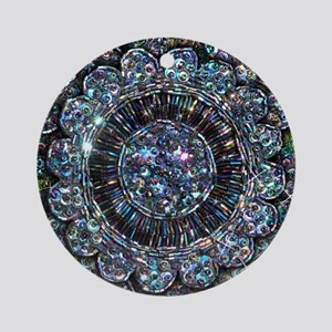 Beaded Sequin Flowers Photo Ornament (Round)
