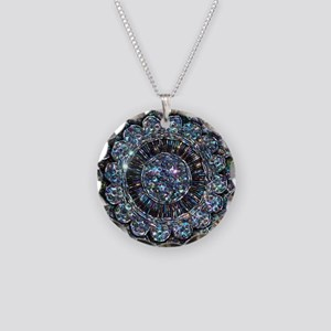 Beaded Sequin Flowers Photo Necklace Circle Charm
