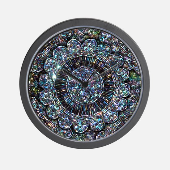 Beaded Sequin Flowers Photo Wall Clock