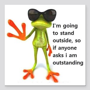 """Outstanding Frog Square Car Magnet 3"""" x 3"""""""